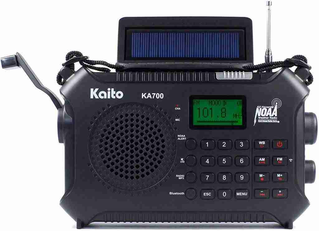 Kaito KA700 Bluetooth Emergency Hand Crank Dynamo & Solar Powered AM FM Weather NOAA Band Radio with Recorder and MP3 Player
