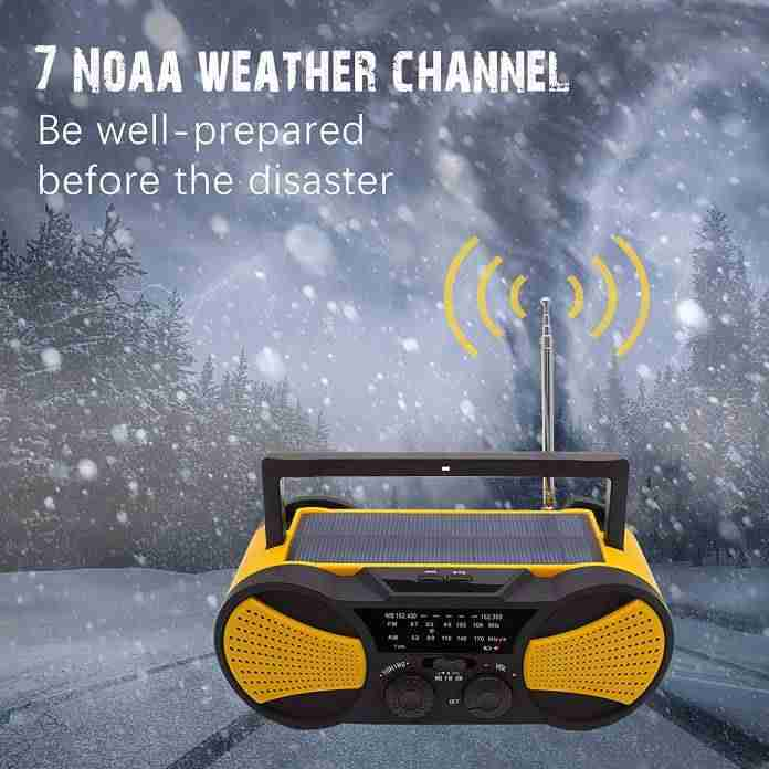 Emergency Crank NOAA Weather Radio Audio Speaker and Running Snail AM/FM
