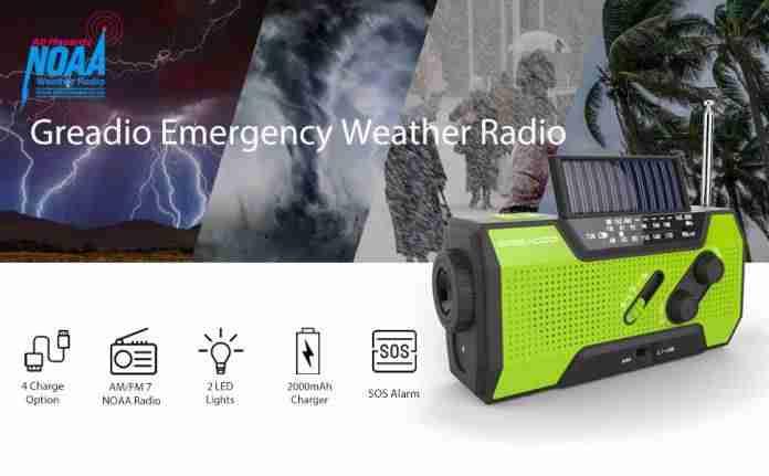 Greadio Portable AM FM Weather Radio